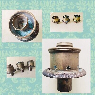 3 Antique Brass Hurricane Candle Light Fittings x 3