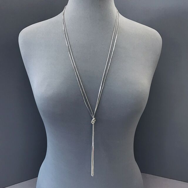 Long silver multi knotted chain rope style simple bar tassel long silver multi knotted chain rope style simple bar tassel pendants necklace mozeypictures Images