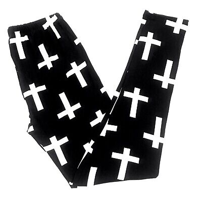 Buttery Soft RIP Halloween Crosses Leggings One Size S M L Black RIP Cross OS