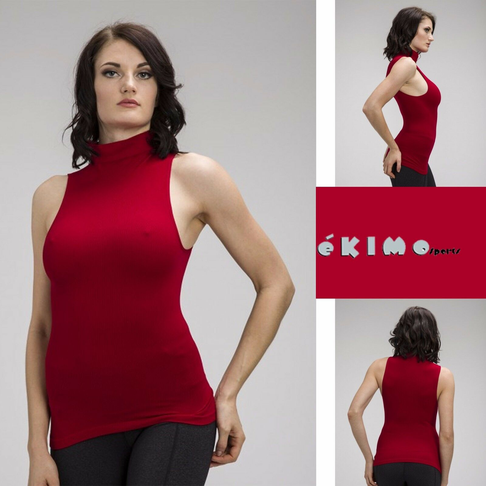 Women sleeveless mock neck shirt turtleneck tank top for Sleeveless mock turtleneck shirts