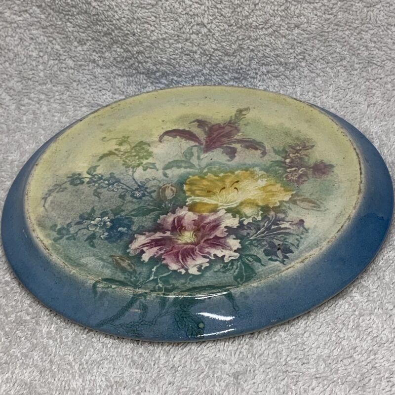 """Antique Royal Bonn Orchids 7"""" Trivet Franze Anton Mehlem Hand Painted Glazed"""