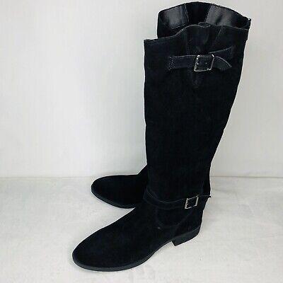 Sam Edelman Painter Boots Womans 9 Black Suede Riding Boot Buckles Zipper (Sam Painter)