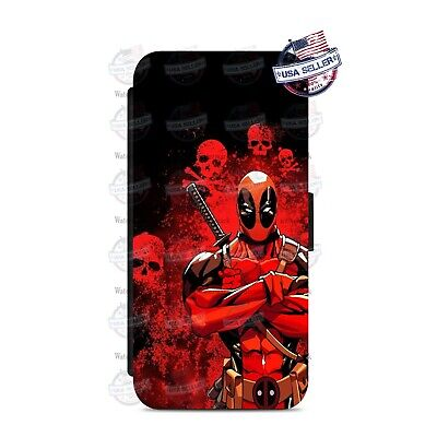 Deadpool Skull Superhero Wallet Flip Phone Case Cover For iPhone Samsung etc