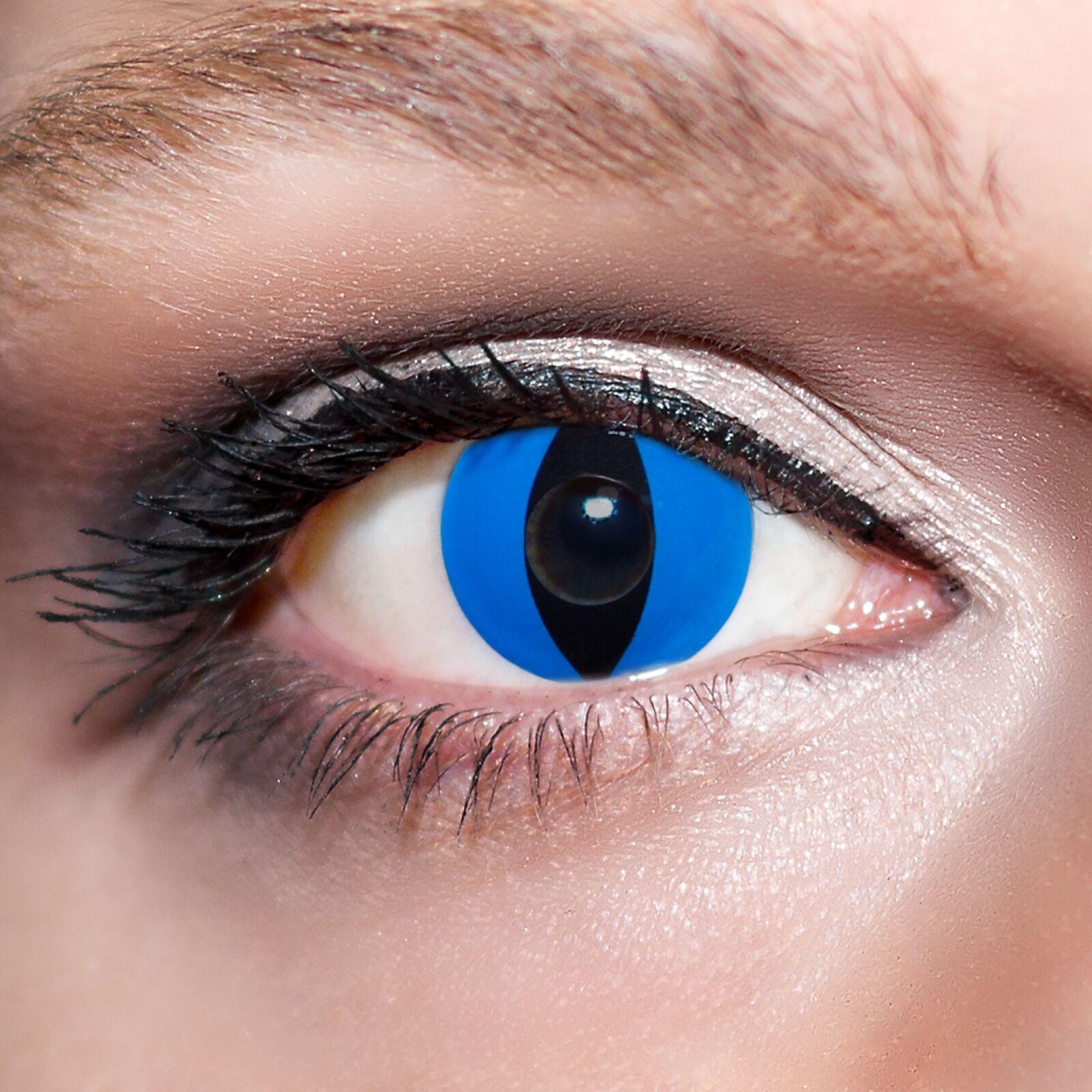 Blaue Kontaktlinsen farbige Katzenaugen Fun Motivlinsen Blau Blue Cats Eyes;K532