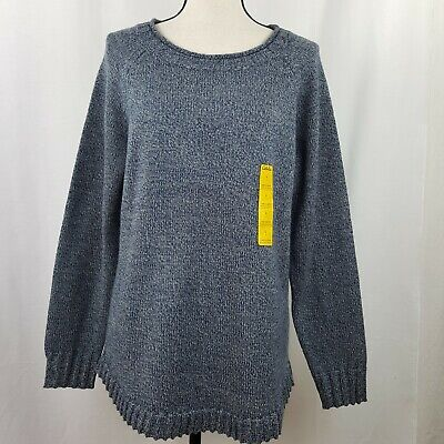Cabelas Large Sweater Women's Boat Neck Blue Gray Variegated Raglan Pullover NWT, used for sale  Marshall
