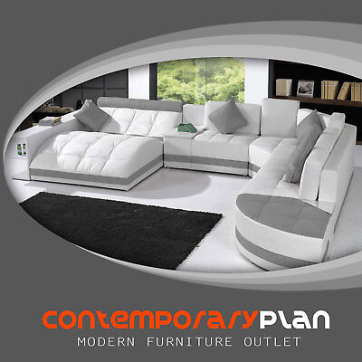 - Miami Contemporary Leather Sectional Sofa Set - Curved Modern Design White/ Grey