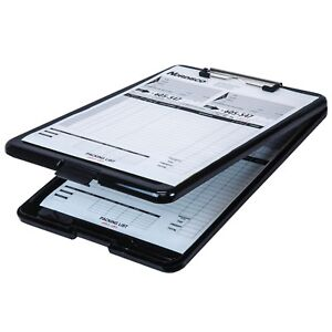 Business Source 37513 Clipboard With Storage, Black Plastic, 13-3/8 x 9-1/2