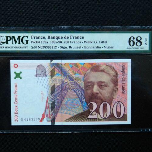 1995-96 France 200 Francs, Pick # 159a, PMG 68 EPQ Superb Gem Unc