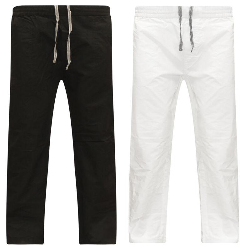 Men Cotton Linen Baggy Harem Pants Straight Casual Elastic W
