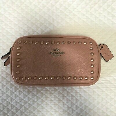 Authentic Coach Sadie Leather Crossbody Clutch Bag in Dusty Pink with Studs