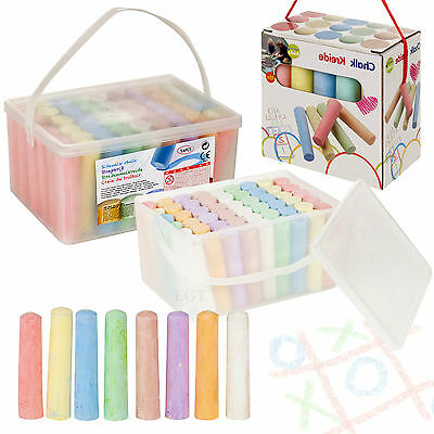 15 Or 54 Piece Coloured Chalk Set Pavement Blackboard Children's Gift Pub In Box