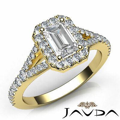 Halo Split Shank French Set Pave Emerald Diamond Engagement Ring GIA H VS1 1 Ct