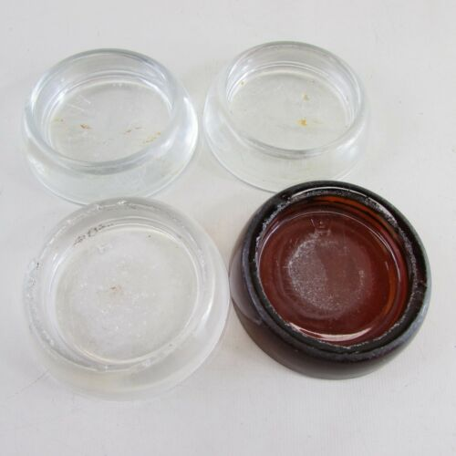 "Lot of 4 Clear Glass Furniture Floor Protector Coasters 3""x 2""x 0.75""  Hocking"