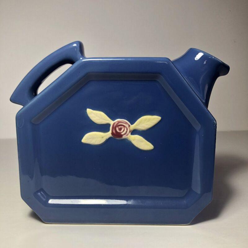 "Coors Pottery BlueRosebud Pitcher Water Server Yellow Flower 7""H"