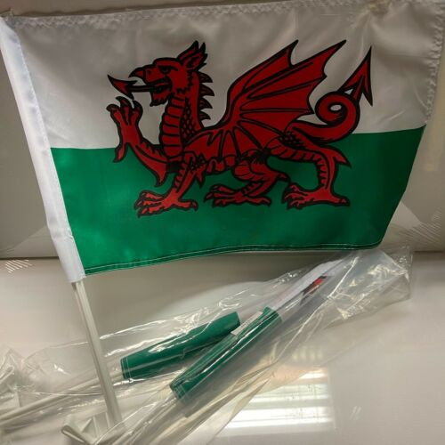 WALES | RED DRAGON | PAIR | CAR FLAGS | EURO 2020 - SPEEDY DELIVERY