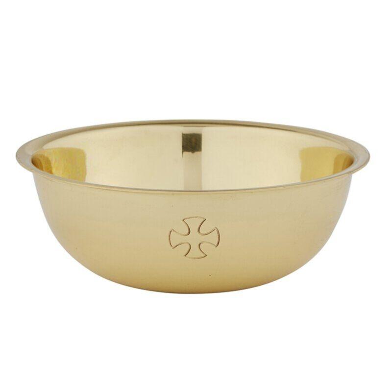 N.G. Sudbury Brass Cross Etched Design Lavabo Bowl, 4 3/4 Inch