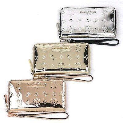 Michael Kors JET SET Mirror Finish Rose Gold Silver Phone Case Wallet Wristlet