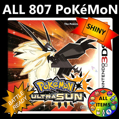 Pokemon Ultra Sun Unlocked All 807 Shiny Battle Ready Nintendo 3Ds
