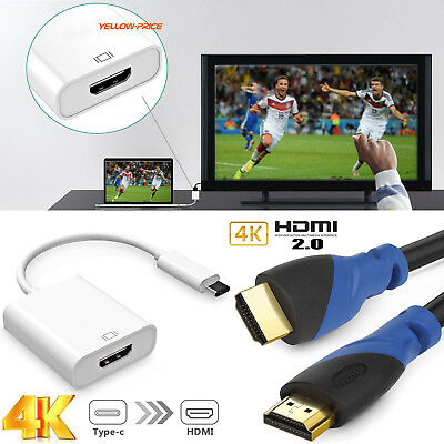 USB-C to HDMI 4K Adapter + 1.5FT 4K HDMI Cable for For Dell XPS 15 iMac Note 8