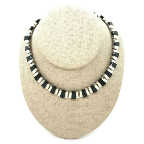 Vintage Taxco Mexican Sterling Silver Black Onyx Modernist Choker Necklace