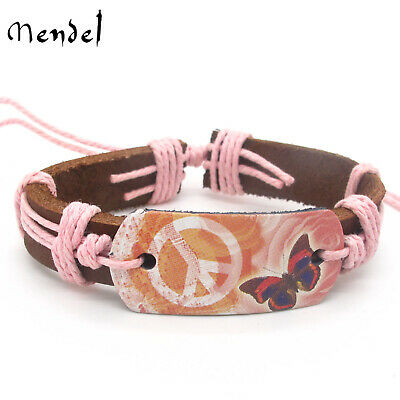 MENDEL Womens Butterfly Peace Sign Leather Cuff Bracelet Wristband Jewelry Girl