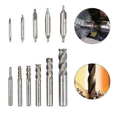 5pc Hss 60 Center Wood Drill Set Countersink Lathe 6pc Hss End Mill Cutter Us