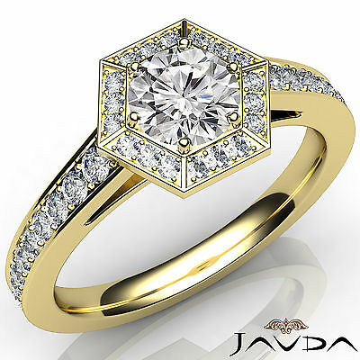 Hexagon Cut Halo Round Diamond Engagement Micro Pave Ring GIA F SI1 Clarity 1Ct
