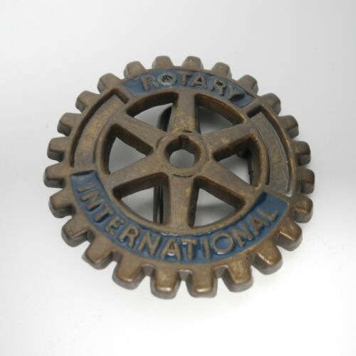 Rotary International Fraternal Club Brass Belt Buckle Vintage