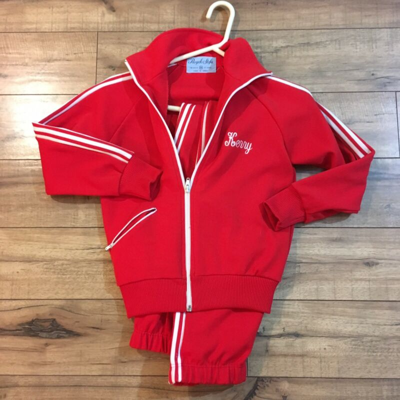 VTG 1980s Girls Medium GYMNASTICS Warm Up Suit Track Suit Team Uniform