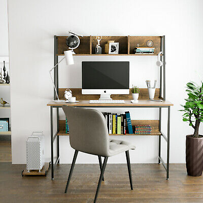 Wood Computer Desk Pc Laptop Table Workstation With Shelf Home Office Walnut