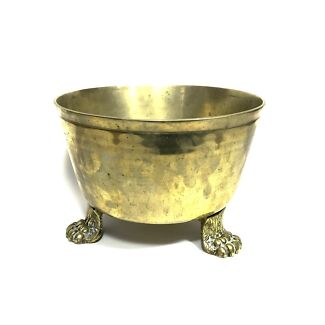 Vintage Claw Foot Brass Pot