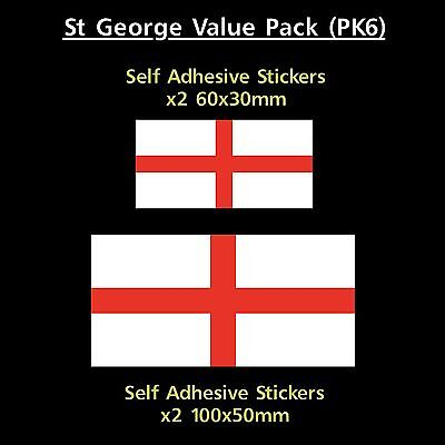 St George England Flag Sticker Decals - Value Pack! - GB, Van, Car, Truck
