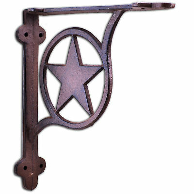 Decorative Shelf Bracket Rustic Star Rust Brown Cast Iron Wall Brace 7.375