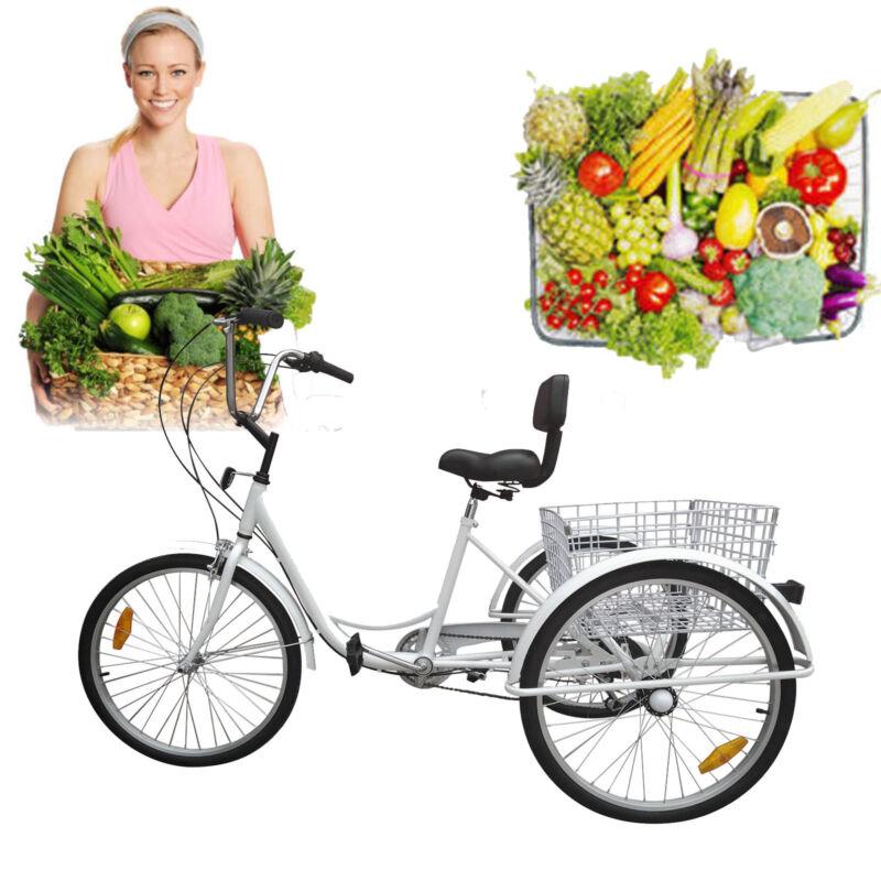 """3-Wheel Adult 24"""" Tricycle Bike Bicycle Trike Cruise 7-Speed"""