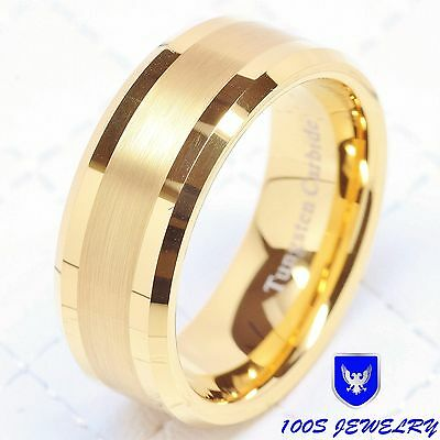 Mens Tungsten Carbide Ring Wedding Band 14k Gold 8mm Jewelry Bridal Size 8-16 14k Tungsten Ring