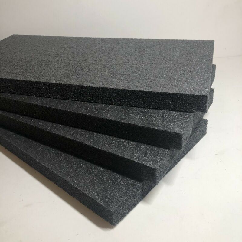 "4 Sheets - 20"" x 10"" x 1"" POLYETHYLENE PLANK FOAM, Density 1.7pcf BLACK"