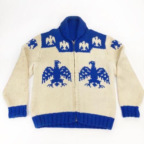 Vintage 1950's Cowichan Curling Thunderbird Sweater Jacket Mens L Womens XL