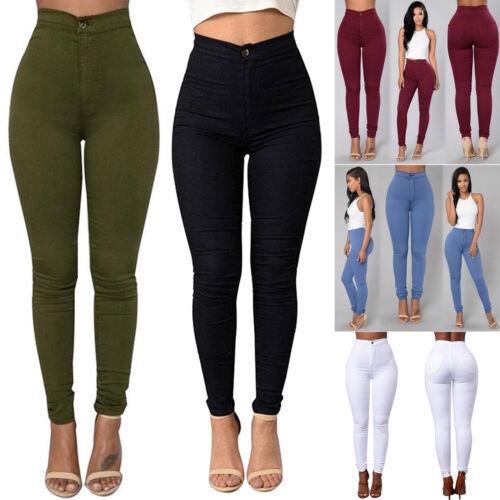 Damen Skinny Jeans Hose Hochbund Röhrenjeans Röhrenhose High Waisted Gr.32 - 40