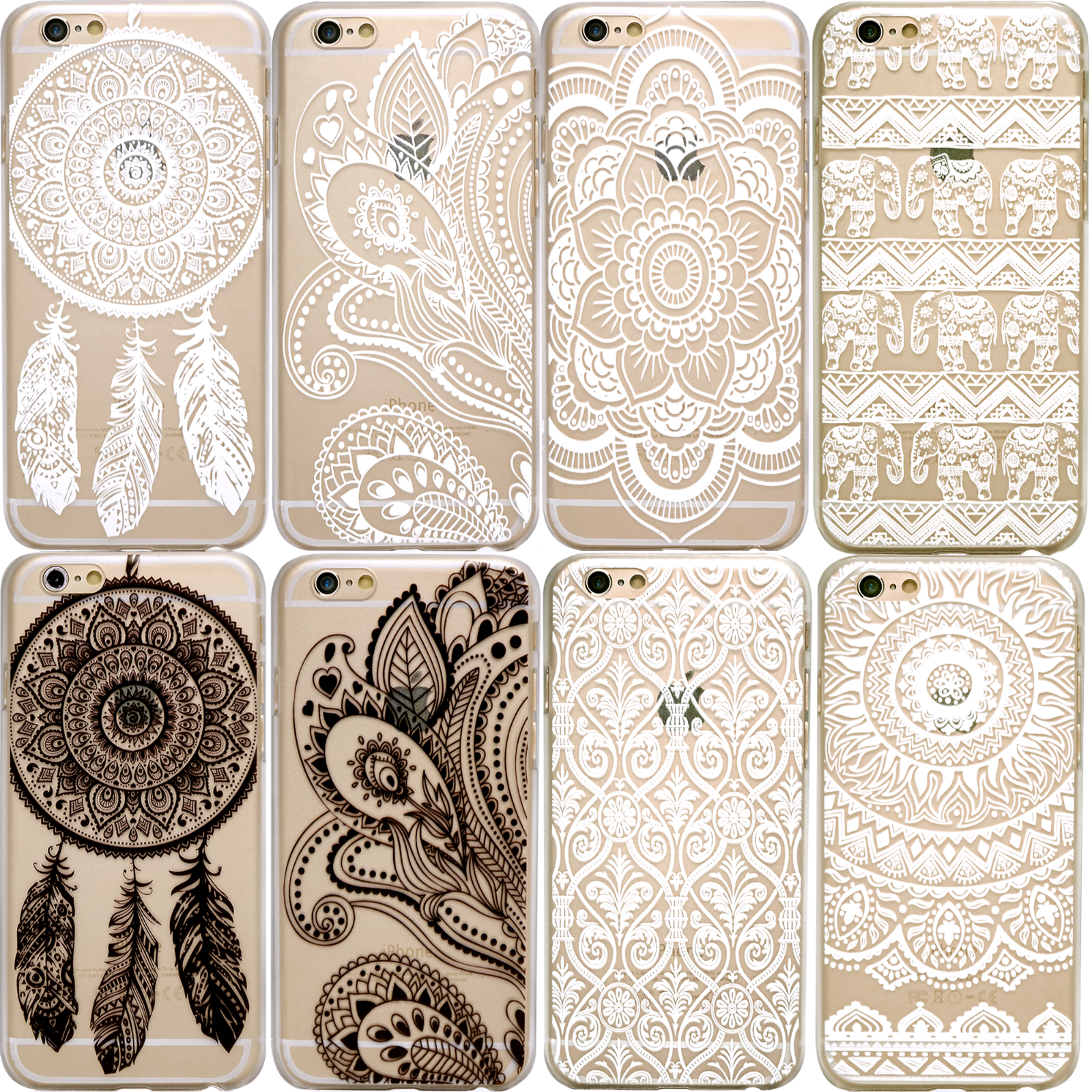 HENNA Dream Catcher Elephant Flower Clear Phone Case iPhone 7 Plus 8 6 6S 5 SE X