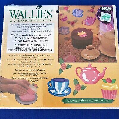 - Wallies Wallpaper Cutouts Stickers Olive Kids Tea Party Teapots Cupcakes