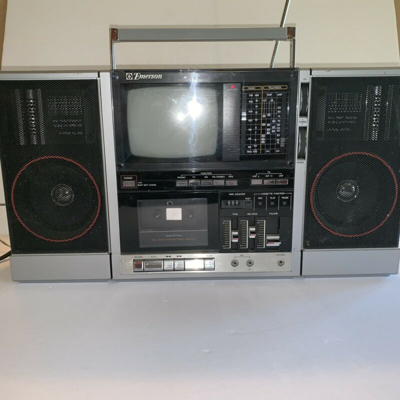 Vintage Emerson Xlc-555 Boombox With Tv Works READ!!!