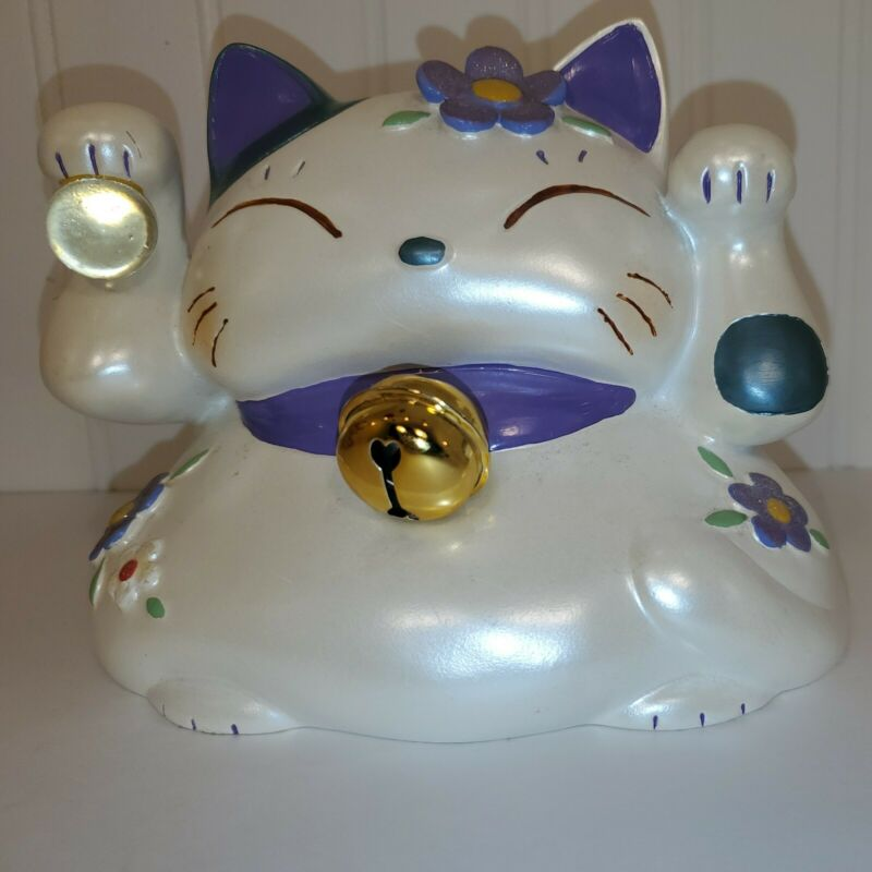 """Lucky Cat Coin Bank ceramic made in VietNam 5"""" tall 6"""" wide"""