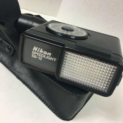 Nikon Speed Light SB-12 Shoe Mount Flash For NIkon F3 w/Case ~ Nice!