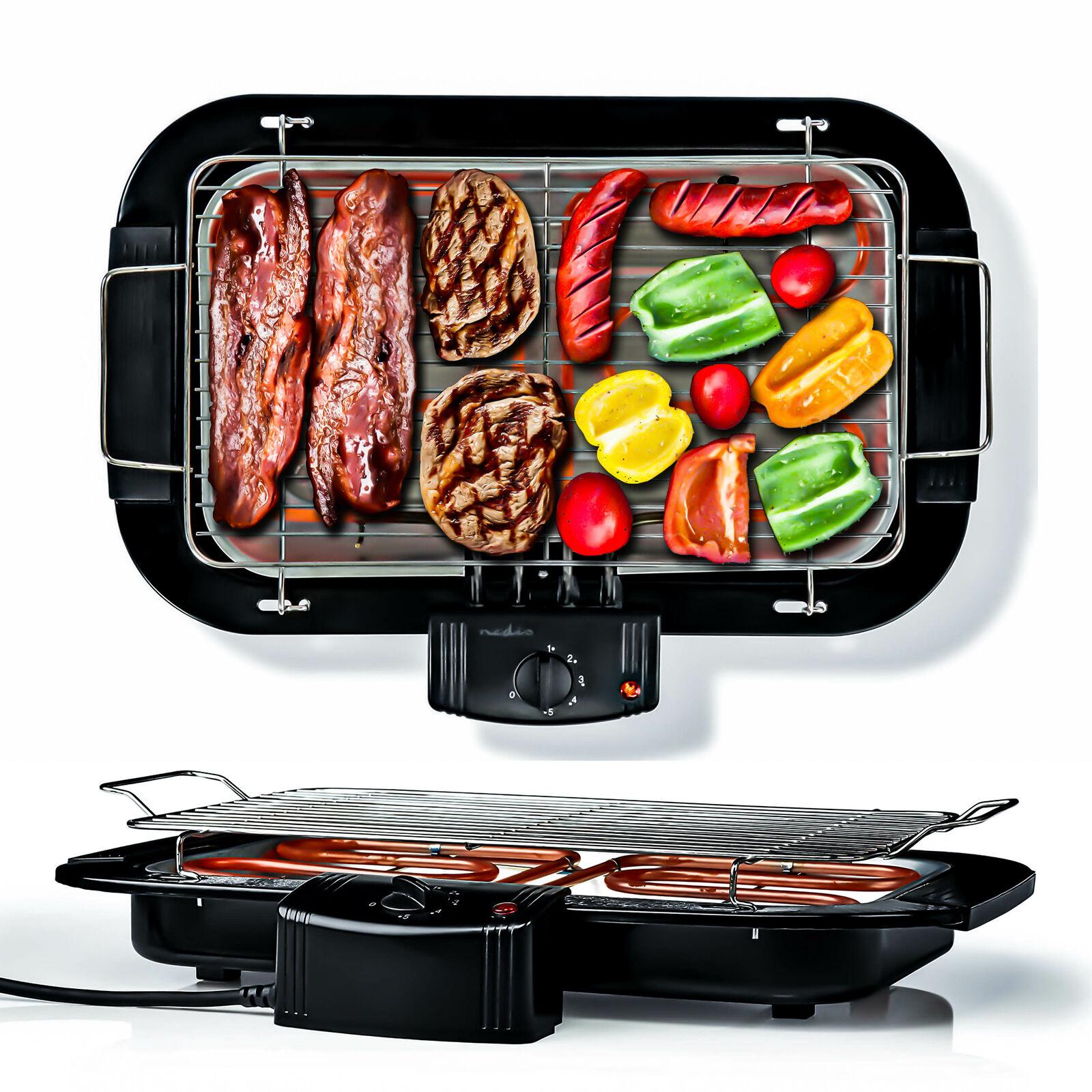 2000W Elektrogrill, elektrischer BBQ Tischgrill, XXL Balkongrill mit Thermostat