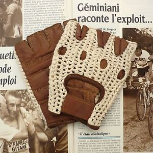 Superb-Vintage-Style-Tan-Lambskin-Cycling-Gloves-with-Cream-Crochet-Cotton-Back