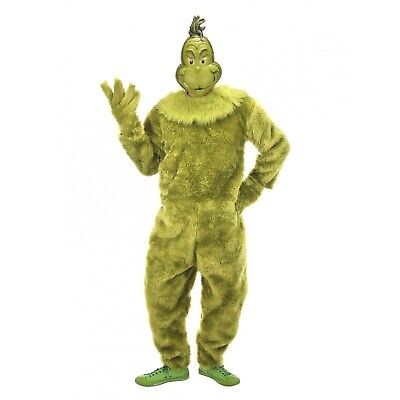 DELUXE Adult The Grinch Stole Christmas Furry Jumpsuit Mascot Costume S/M L/XL - Furry Costumes