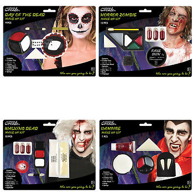 Halloween Face Paint Make Up Kit - Sugar Skull, Vampire, Zombie, Walking Dead