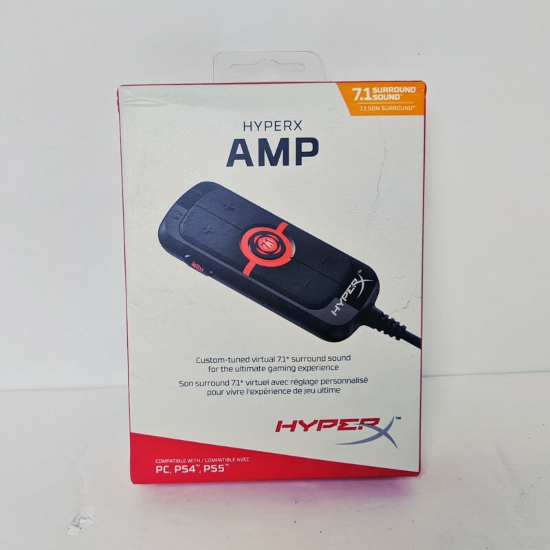 HyperX - HX-USCCAMSS-BK Amp USB Sound Card - Virtual 7.1 Surround Sound PS4 PC