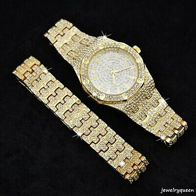 Iced Out 14k Gold Plated Watch & Bracelet Set Hip Hop Rapper Luxury Men's Gift