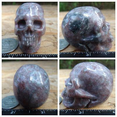 "1.98"" Garnet Skull Carved Stone 125.3g 4.4oz Crystal Healing Realistic"